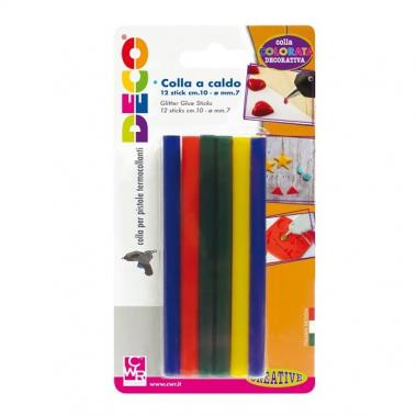 Colla  a caldo colorata 12 stick cwr