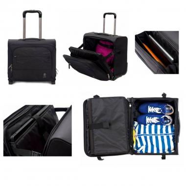 Pilot trolley invicta carry on jet black 2tone
